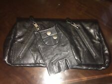 ALEXANDER MCQUEEN Legendary& Iconic Black Leather Clutch Bag with Glove!MUSTHAVE