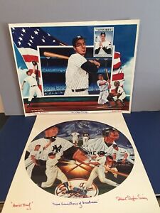 Lot x 2 New York Yankees Lithographs RUTH, MANTLE, MATTINGLY, DIMAGGIO Read Desc