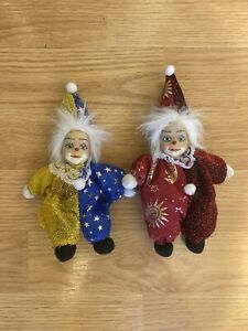 Lot Of 2 Porcelain Clowns Mini Cute Circus Red Yellow Collectible Happy Doll
