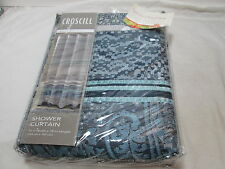 NEW Croscill MAXWELL Fabric Shower Curtain 72x72 ~ Navy, Silver, Aqua NIP