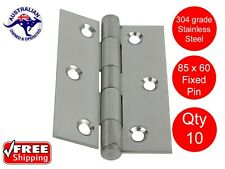 10 X STAINLESS STEEL DOOR HINGES 304 grade 85 x 60 BUTT HINGE FIXED PIN