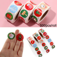 500pcs/roll Merry Christmas Kraft Stickers Xmas Gift Cards Box Tag Package Label
