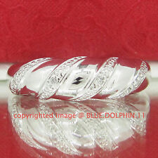 Genuine Natural Diamond Solid Sterling Silver Wedding Ring Band White Gold Finis