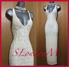 KAREN MILLEN UK 10 Ivory Lace Heavy Beaded Wedding Bridal Party Long Maxi Dress