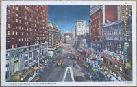 Times Square at Night 1940s Linen Postcard - New York City, NY NYC