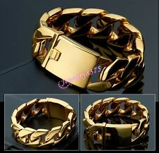 Huge 24mm 8.66inch Stainless Steel Gold Plated Heavy Curb Chain Mens Bracelet