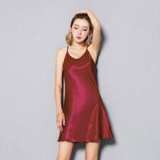 Women Tank Top Vest Dress Faux Silk Satin Camisole Strap Lingerie Nightdress