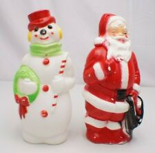 "Vintage Lot of 2 Empire 1968 Santa & Snowman Christmas 13"" Blow Mold"