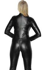 Sexy Stretch 4-Way Black Zip Wet PVC Look Latex Spandex Catsuit - Valentines