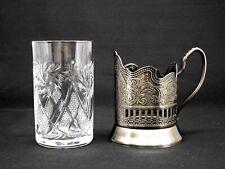 Russian Tea Glass Holder Podstakannik with 8.5 oz Soviet Cut Crystal Glassware