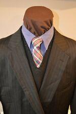 Jones New York mens 2btn dark gray beaded stripe wool suit sz 50Long pants 42x31