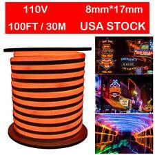 100FT Orange LED Neon Light Rope Outdoor Lighting Strip Flex Tube Party Decor