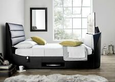 """Avalon Black Leather Double TV Bed Holds Up To A 43"""" TV. **Clearance Price**"""
