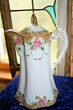 Vtg Nippon CHOCOLATE COFFEE POT HAND PAINTED FLORAL GOLD GILT Art Nouveau style