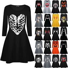 Womens Ladies Halloween Skeleton Bones Heart Printed Smock Flared Swing Dresses