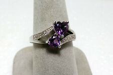 STERLING SILVER 5  & 6 MM Double HEART AMETHYST & DIAMOND RING  SIZE 7 1/2  NEW