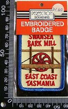 VINTAGE SWANSEA BARK MILL EMBROIDERED SOUVENIR PATCH WOVEN CLOTH SEW-ON BADGE