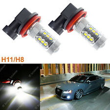 2x 6000K White 80W H11 H8 H9 H16 LED Bulbs for Fog Lights Lamp Replacement