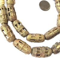 Handmade Ghana African lost wax Brass Barrel  shape trade beads
