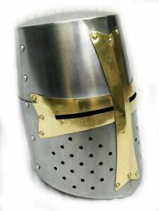Medieval Knight Armor Crusader Templar Helmet Helm with Mason's Brass Cross 18 g