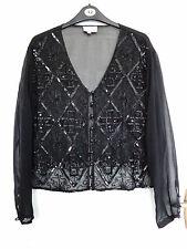 "Charlotte Halton Black Sequin & Beaded Party Top/Jacket  Size 14 Bust 38"""