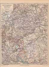 Baden-Württemberg Hohenzollern alte LANDKARTE von 1905 Schwarzwald Donau-Kreis