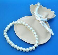 Cream Glass Faux Pearl 6mm Bead Stretch / Adjustable Bracelet
