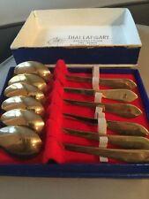 Vintage Thai Lapidary 6 Pc Brass Tea Spoons Set + Box
