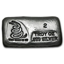 2 oz Silver Bar - Don't Tread On Me (PG&G) - SKU #101744