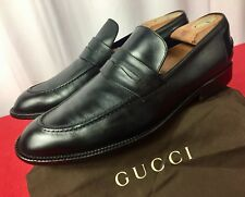 330ce4a73a1 Mens Black Gucci Leather Loafers Drivers Sz 8 G   9 US   42 E Made