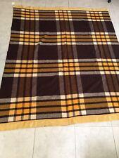 New listing Vtg Pearce Wool Blanket Large Plaid Yellow Brown Satin Border Full Size Cabin