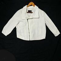 Hurley Women's White Denim Moto Zip Jean Jacket - Size Small