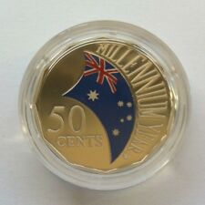 2000 50c Millennium Year Flag Coloured Proof Coin in Capsule ex Baby Proof Set