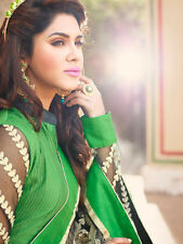 Designer Pure Chanderi Cotton Salwar Kameez Green Color Unstiched Casual Wear