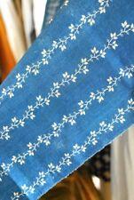 1870-80 COTTON PRINTED CALICO INDIGO BLUE YARDAGE/PANEL
