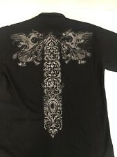 Indigo Thirty Men's  XL Cross Dragon Black Short Sleeve Shirt Graphic Tee