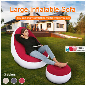 Large Lazy Inflatable Sofa Comfortable Outdoor Lounger Garden Indoor Chair Set