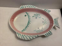 "CALECA ITALY 15"" FISH PLATTER PINK & GREEN W/ FLOWERS SHALLOW BOWL HAND PAINTED"