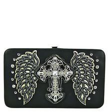 BLACK STUDDED RHINESTONE CROSS WITH STITCHED WINGS LOOK FLAT THICK WALLET