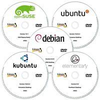 5 x Linux DVD Collection 64bit OpenSUSE, Ubuntu, Debian, Kubuntu & ElementaryOS