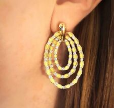 Triple Row Hoop Earrings with Diamonds and Textured 18k Yellow Gold- HM1795