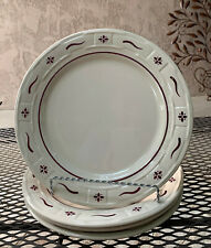 """Lot of 4 Longaberger Pottery Woven Traditions Heritage Red Dinner Plates 10"""""""