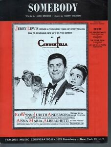 Somebody 1960 Jerry Lewis Cinderfella Sheet Music