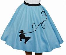 """4-Pcs LIGHT BLUE 50s Poodle Skirt Outfit Size 1X/3X - Waist 40""""-48"""" - L25"""""""