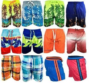 Mens Hawaiian Leaf Swim Shorts Swimming Beach Palm Multi Pockets Mesh Trunks xp