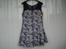 QED London Navy Floral Skater Dress With Mesh Insert Size 14