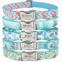 Personalized Dog Collar Blue Nylon Adjustable Free Engraved Name Small Large Pet