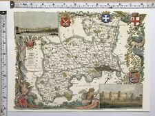 Old Antique Historical colour map Middlesex, England: c1830's: Moule: Reprint