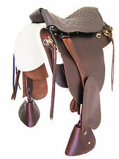 "LEATHER TROOPER SADDLE ""THSL"" OIL BROWN-STITCHED PADDED SEAT 18"" * NEW *"