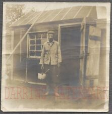 Vintage Snapshot Photo Unusual Man w/ Pot 2 P in & Tar Paper Shack Home 704120